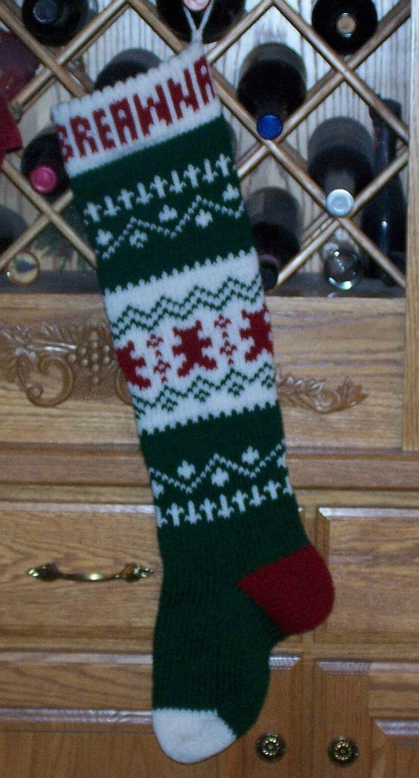 Teddy Bear Personalized Knitted Christmas Stocking